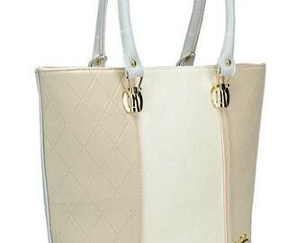 Beige Leather Purse, Leather Handbag, Women Shoulder Bag, Leather Tote, Vegan Leather, Made In Europe
