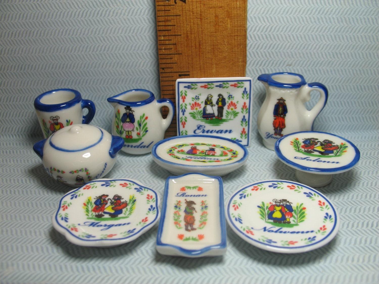 Breton quimper dishes serving plate cake stand dish set - Gallery cuisine quimper ...
