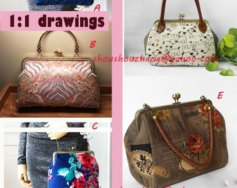 5 Design bag pattern for  20CM  8 inch diy square handbag  sewing on purse clutch frame  pvc pattern