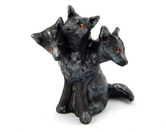 Cerberus, Three-Headed Dog Figurine, Greek Mythology, Hand-Sculpted Polymer Clay