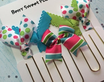 Bright Stripes & Dots - Set of 5 Planner Clips / Bookmarks