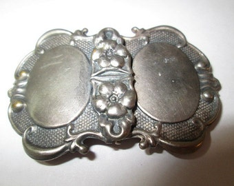 Two Piece Buckle Repousse Victorian Silver Plated Metal Tone 1900's Ornate Sash Old