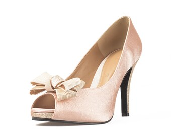 Jackie Bow Bow Nude Peep Toe Pumps, Nude Satin Wedding Heels, Peach Satin Heel with Bow, Cream Bow Bridal Shoe