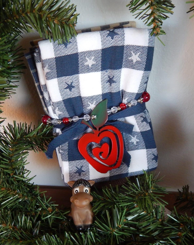 Red Apple Kitchen Decor Teachers Giftset Of 6 Appleschristmas Tree Ornamentmetal Art