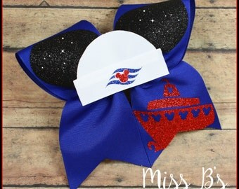Disney Mickey and Minnie inspired Cheer Bow, Disney Cruise Hair Bow, Disney Cheer Bow, Mickey and Minnie Tails Down Hair Bow
