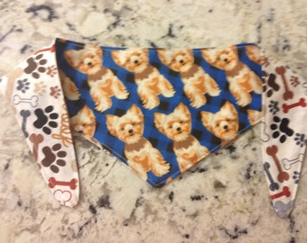 Tie-on Dog Bandana Yorkie  - XSmall and Small