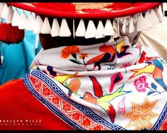 Fine Art Print, Tarahumara Traditional Dress , Minimalistic Decor, Street Photography, Color.