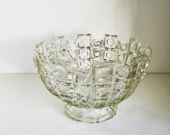 Vintage Glass Bowl Cut Glass Lead Crystal Geometric Pattern Decorative Bowl, Made in England Circa 1960s