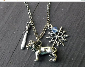 ON SALE Narnia: the lion, the witch, and the wardrobe inspired silver charm necklace