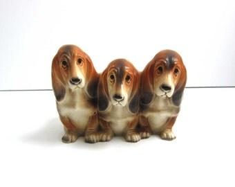 Vintage Napcoware Japan Three Basset Hounds Puppy Dog Planter - Sad Eyed Hound Dog Plant Pot