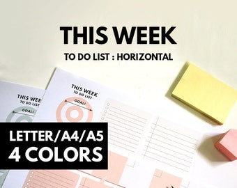 Weekly Planner Printable,Letter A4 A5 size horizontal weekly Goal planner, Weekly to do list, , Pastel color, minimal planner, GetWellPlan