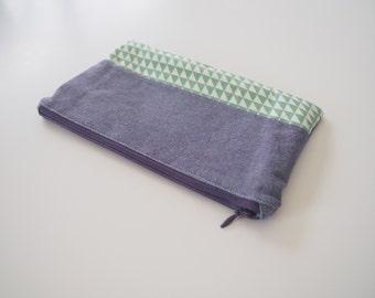 Zipper pouch, cosmetic bag, pencil case - blue/ purple/ green triangles