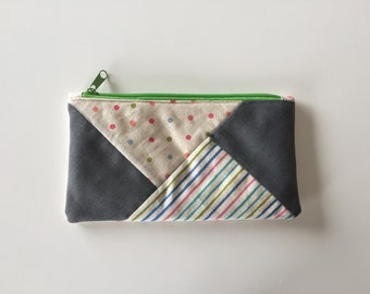Zipper pouch with patchwork quilted front - colourful spots and stripes/ grey