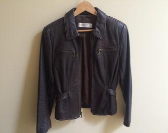 Vintage Valerie Stevens Brown Lambskin Jacket size 8