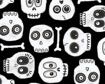 Boo Crew Sugar Skulls Bones GLOW IN DARK Halloween Fabric