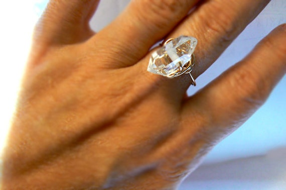 Herkimer diamond gold ring -Gold filled wire wrapped size 8 ring- Double terminated diamond ring- Jewelry gemstone ring- Women gift