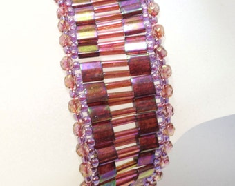Beads Bracelet red purple topaz threaded stainless unique Tila beads feueerpolierte cut glass beads