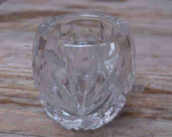 Vintage cut glass match holder