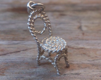 vintage sterling silver chair charm