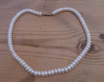 vintage real white fresh water pearl necklace