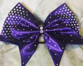 Purple satin bow with AB crystal rhinestones
