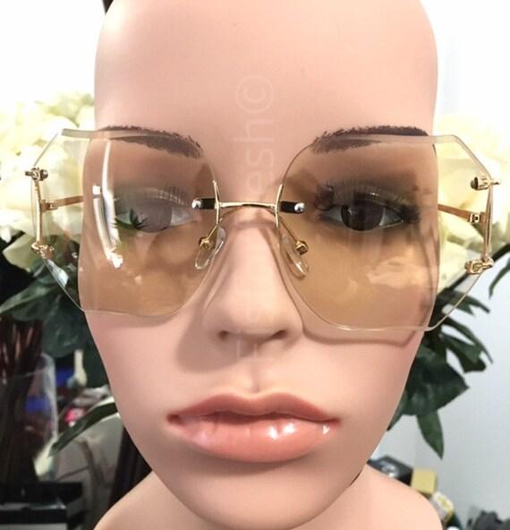 Rimless Hipster Glasses : OVERSIZE Classic VINTAGE RETRO Style Yellow Lens Eye Glasses