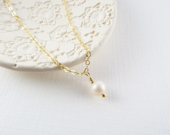 Freshwater Pearl Necklace, 14kt Gold Filled Necklace Gift for Her