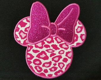 Minnie Mouse Ears  Shirt- Mouse Head Applique Shirt- Embroidered Shirt- Custom Disney Vacation Shirt- Pink Leopard