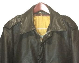 Schott 674 MS Brown Leather A-2 Vintage Flight Bomber Jacket Men's Size 46