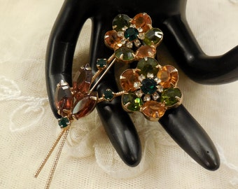Vintage Juliana Amber,and Green and Smoky Topaz Double  Stem Flower Brooch