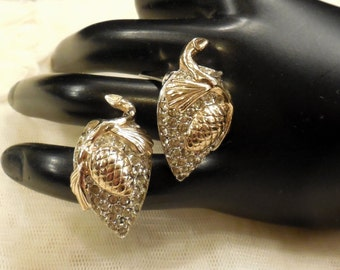Vintage Reja Pave Rhinestone Pine Cone Earrings