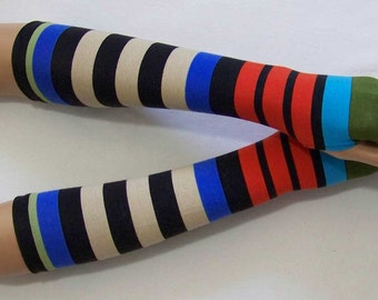 Multicolored Stripes, Knit, Stretch,Mittens,Yoga, Cycling, Soft Fingerless Gloves, Hippie, Sleeves with Thumb Hole. IDEAL for HER
