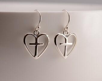 Silver cross heart earrings. Heart cross earrings. Heart earrings. Sterling silver heart cross earrings
