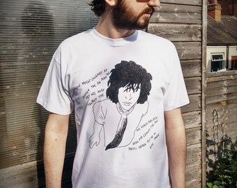 SYD BARRETT Pink Floyd Hand Painted Cult Iconic Pop Art Retro Rock Band White T-shirt