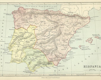 Hispania Ancient Spain Antique Map 1876 Cartography Vintage Map Home Decor Print Wall Art