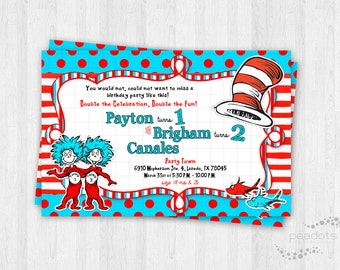 Thing 1, Thing 2 Invitations / Dr. Seuss Invitations / Cat in the Hat