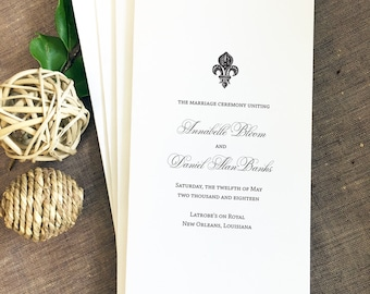 Fleur De Lis Wedding Program, New Orleans Wedding Program, French Quarter  Wedding Program,