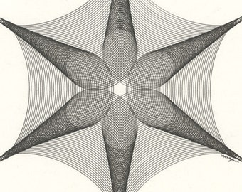 Geometric Art, Pen & Ink Drawing, Original Ink Drawing, Abstract Geometric Modern Art, Star Drawing, Geometric Art, Minimal Art 11 x 14