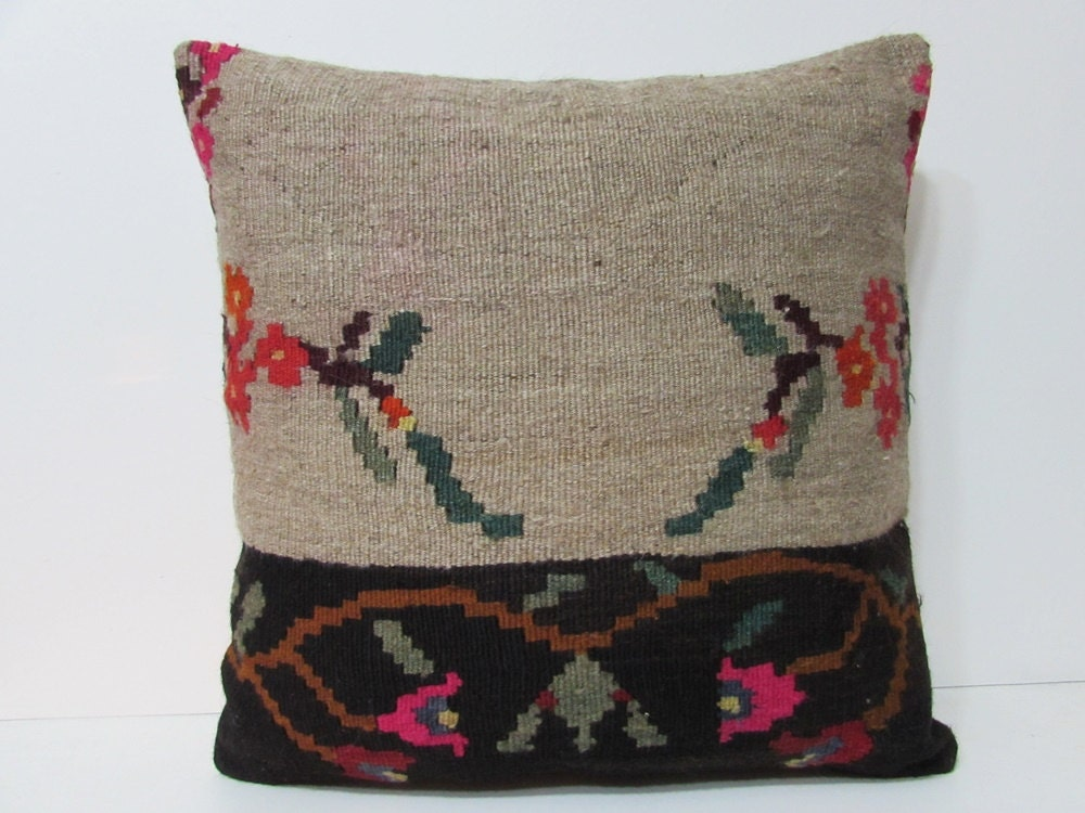 Southwestern Pillow Covers 24 X 24 : 24x24 southwestern kilim pillow cream throw pillow floral