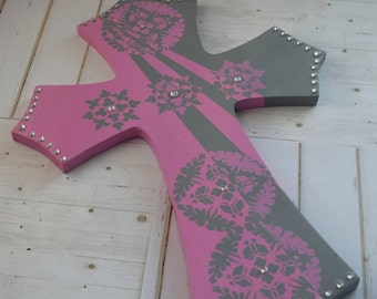 Wood Cross Sign as Christian Decor With Pink and Grey
