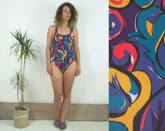 90's vintage women's colorful Nike one piece fitness active wear/ athletic bodysuit