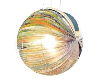 Globe Book Lamp - unique handmade lamp made from a used book, recycle, upcycle, bookart, light, origami, lantern