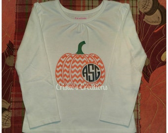 Chevron Monogram pumpkin shirts