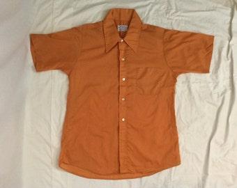 Vintage 1960's/ 1970's Orange Button Up Shirt