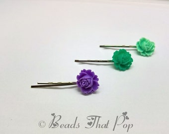VALENTINES GIFT Mint, Purple & Green Rose Flower Bobby Pins, Set of 3, Rose Bobby Pins, Hair Clips, Handmade Hair Accessories, Great Value!