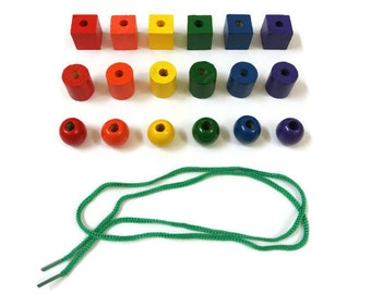 Montessori Natural Wood Rainbow Color Lacing Beads