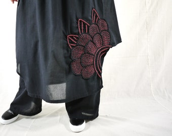 Pants With Attached Skirt - Azo Free Color Black Light Cotton Pants With Skirt And  Floral Applique & Handed Embroidery - P023