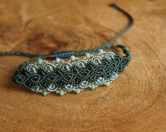 Macrame, Handknotted bracelet, green