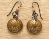 75th Birthday: 1941 Canadian Small Cent Earrings Coin Jewelry 75th Canadian Birthday Gift