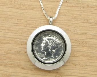 For 90th: 1927 US Dime Locket Necklace 90th Birthday Gift Coin Jewelry